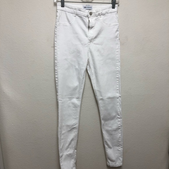 Zara Mid-Rise White Skinny Jeans 6
